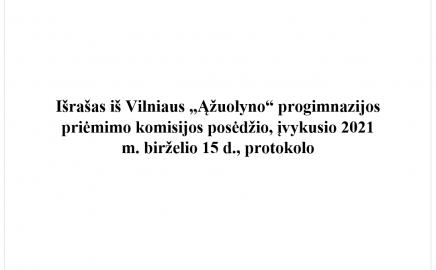"""Pranešimas dėl priėmimo į Vilniaus """"Ąžuolyno"""" progimnazijos I-VIII klases II-ojo etapo"""