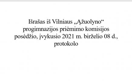 """Pranešimas dėl priėmimo į Vilniaus """"Ąžuolyno"""" progimnazijos I-VIII klases"""