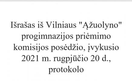 """Pranešimas dėl priėmimo į Vilniaus """"Ąžuolyno"""" progimnazijos I-VIII klases IV-ojo etapo"""
